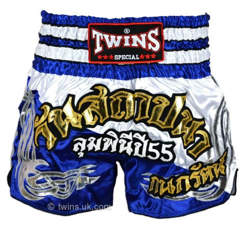 Twins TWS-875 Blue/White Muay Thai Shorts